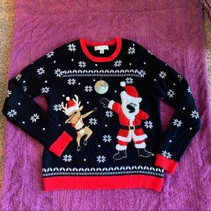 Funny Ugly Christmas Sweater Santa Reindeer Large